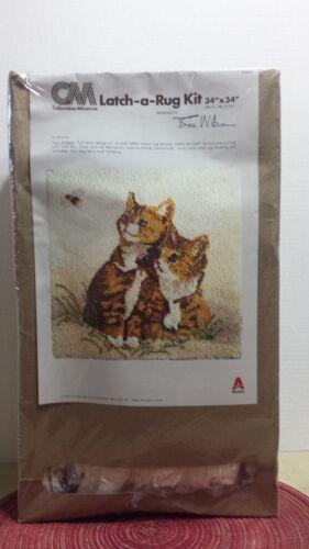 NEW LATCH HOOK RUG KIT ~COLUMBIA MINERVA ~Twin Kittens~34x34~Erica Wilson