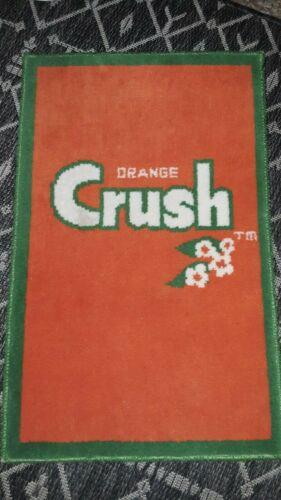 """Vintage 1970s ORANGE CRUSH Advertising Rug Floor Door Mat Soda Pop  27"""" x  17"""""""