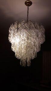 Mid Century Murano Mazzega chandelier. 88 glass pieces LARGE