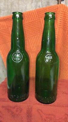 Vintage C. Schmidt & Sons Inc Phil PA Green Glass Beer Bottles-2 Total Empty