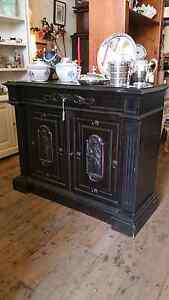 Antique Black Laquered French Cabinet Sideboard South Melbourne Port Phillip Preview