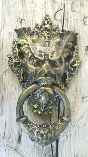 Huge Cast-Iron Angry Face Door Knocker, Medieval, Gothic, God, Devil, Demon