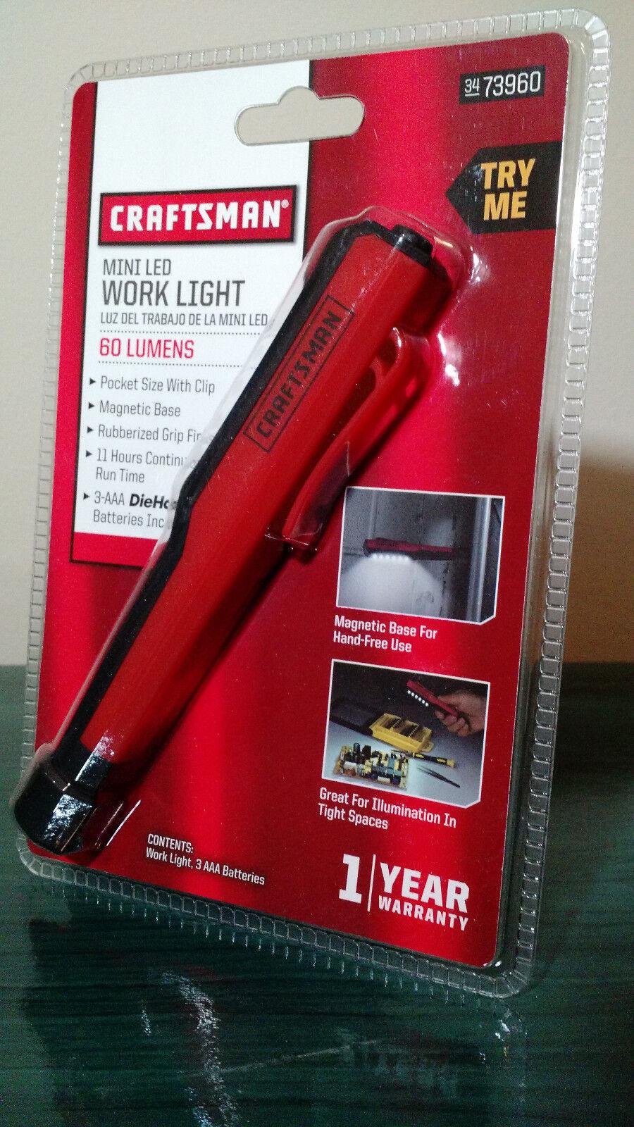 CRAFTSMAN MINI LED WORK LIGHT 60 LUMENS MODEL 73960