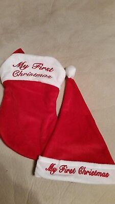 - NEW BORN BABY 1ST CHRISTMAS SANTA HAT & STOCKING RED & WHITE