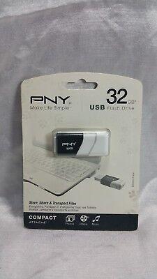 PNY USB 2.0 32GB COMPACT FLASH DRIVE NEW SEALED PACKAGE FAST FREE SHIPPING segunda mano  Embacar hacia Argentina