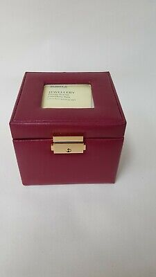 1990s vinyl jewellery box burgundy photo frame lock