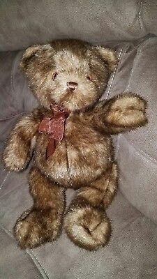 Dakin For Big Lots Brown Plush Stuffed 15  Teddy Bear Burgundy Sheer Bow Euc