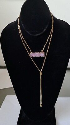 "055268 NATURAL AMETHYST DRUZY TASSELS TWO LAYER NECKLACE GOLD PLATED 22"" + 18"