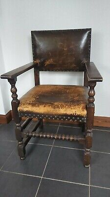 ANTIQUE 19THc  LEATHER STUDDED BARLEY TWIST CHAIR.