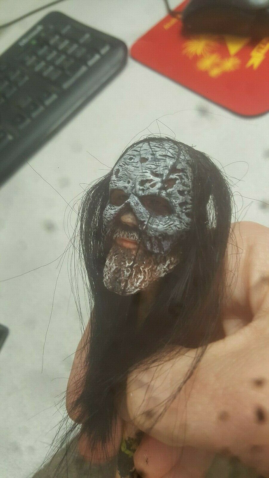custom painted walking dead beta head with rooted hair  for