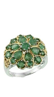 Vintage Emerald Cluster Engagement Ring 18K Yellow Gold Finish size m *uk seller