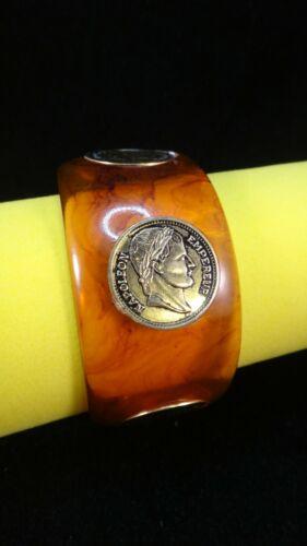 VINTAGE Rootbeer Swirl with Medallions Bakelite Bangle Tested+ 57.5g
