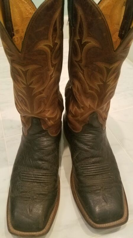 Mens, Size, 11, EE, Justin, Boots,, Smooth, Ostrich, Skin,, Leather, Sole,, Black,, 5507