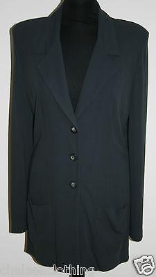 TOUPY PARIS Stretch Viscose Jersey Jacket UK12-14/T3 V-Neck Long Jacket Grey