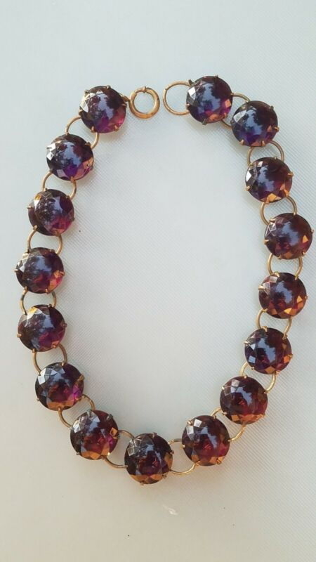 VICTORIAN BRASS NECKLACE OPEN BACK FACETED CZECH AMETHYST GLASS NECKLACE
