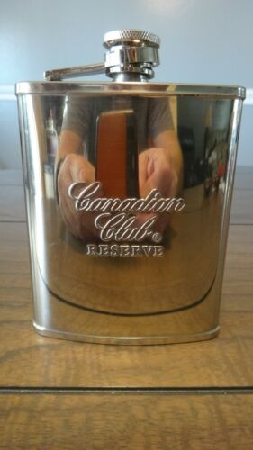 Classic Canadian Club Reserve Pocket Flask Stainless Steel 6 Ounce Screw Cap