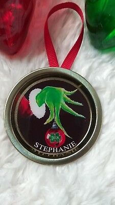 The Grinch Personalized Single Autism Awareness Ornament  2019  Mason Jar Lid (Single Mason Jars)