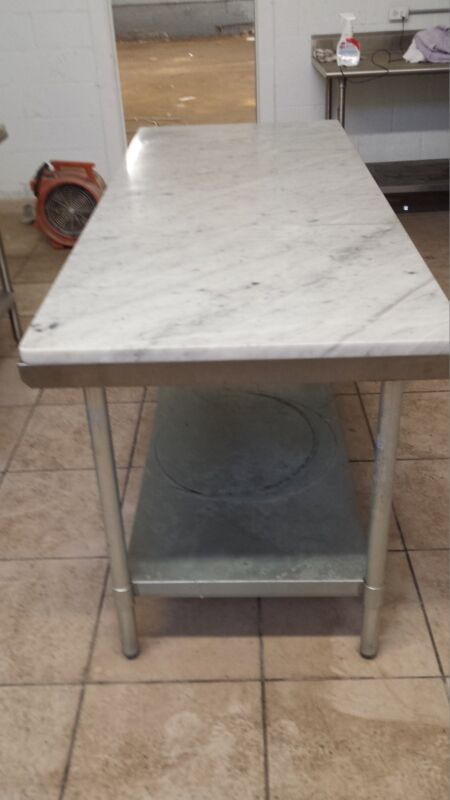 Stainless Steel Work Tables (Heavy Duty) 14 guage. Marble Tops