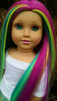 LAST ONE! Doll Wig for American Girl dolls in Rainbow Chameleon