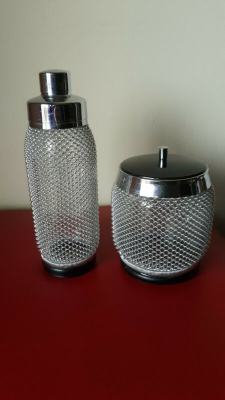 Czech MCM Vintage Mesh Wrap Glass Cocktail Shaker Ice Bucket