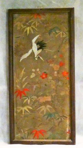 ANTIQUE 19C JAPANESE LARGE SILK GOLD THREADS WITH CRANE & FLOWERS EMBROIDERY