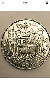 1950 Canadian Silver Fifty Cent Coin - UNCIRCULATED