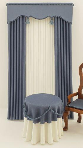 Miniature Dollhouse Wedgewood Blue Curtains and Cornice Pelmet 1:12 Scale