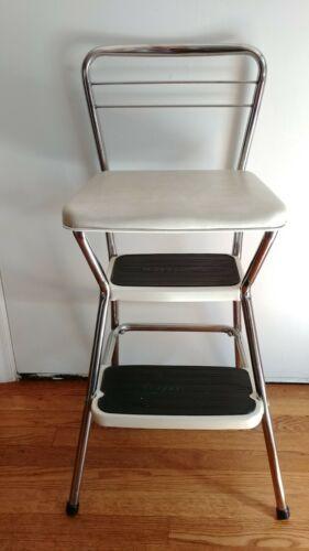 Vintage Cosco Mid-Century Modern Flip Seat Step Stool Chair Kitchen Stool Cream