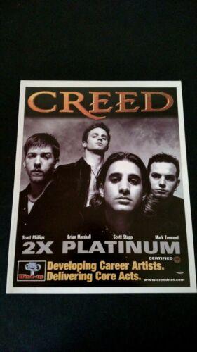 CREED  2X PLATINUM  ( 1998 )  RARE ORIGINAL PRINT PROMO POSTER AD