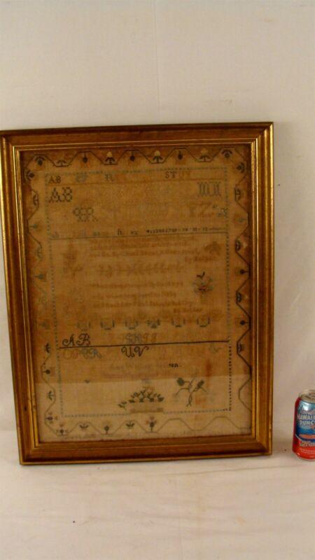 Antique 1810 Schoolgirl Ann Jackson Needlework Sampler