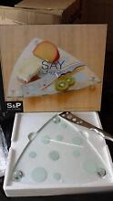 Brand New -S&P Glass Cheese Platter w S/S Cheese Knife Earlwood Canterbury Area Preview