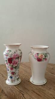 TWO BEAUTIFLLY PATTERNED ROSE VASES IN EXCELLENT CONDITION