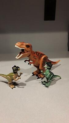 Lego Jurassic World Lot T-Rex Dark Brown/Orange and 2 Velociraptors