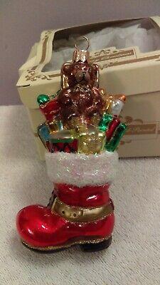 Christmas ornament Impuls glass Boot filled presents teddy bear Poland CH1553