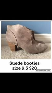 Suede leather booties- size 9.5