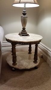 2 Beautiful, Ornate Antique Marble End Tables