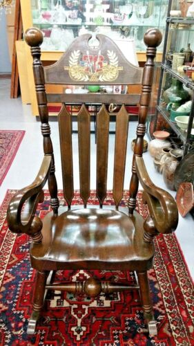 LARGE WOOD ROCKING CHAIR # 76 FLANKED BY CANNON - MOTIFS,  BICENTENNIAL EDITION