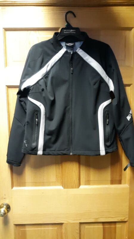 Preowned Ladies Harley Davidson Black Riding Jacket Wing Skull embroidery Large