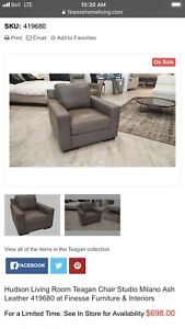 Hudson's living - accent leather chairs - Milano ash (new)