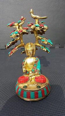 Buddha Statue Tree Brass Turquoise Coral Showpiece 7