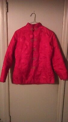 VTG Red Chinese Cheongsam Qipao Red Long Sleeve Jacket With Frog Buttons Medium for sale  Flushing
