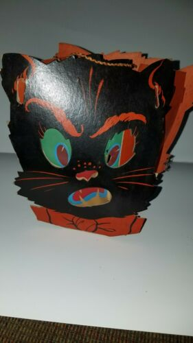 Vintage Cardboard Halloween Cat Lantern W/Paper Liner