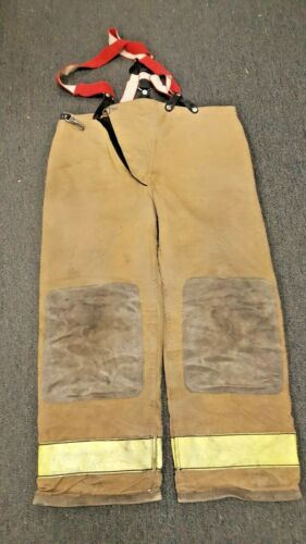 42x30 Globe Tan Firefighter Turnout Pants with Red Suspenders P037