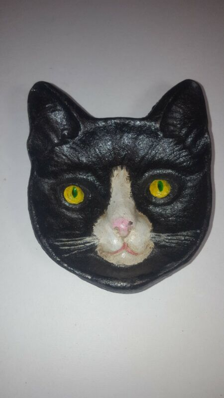"""CAST IRON CAT FACE COIN RING DISH 4"""" X 4"""" NEW"""