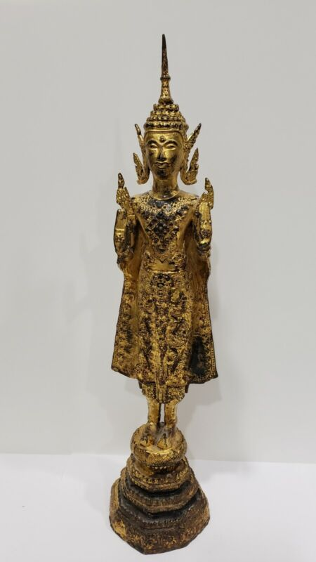 "Antique 19 Century Gilt Bronze Thai Rattanakosin Standing Buddha, 18"" Tall"