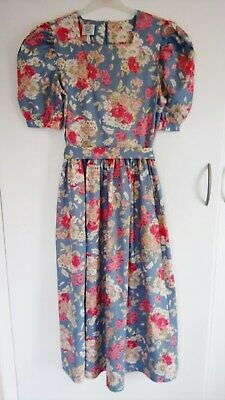 Vintage Laura Ashley Floral Cotton Midi Dress size 10 1980's high waisted.
