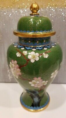 Vintage Chinese Cloisonne Enamel Floral Small Ginger Jar Urn