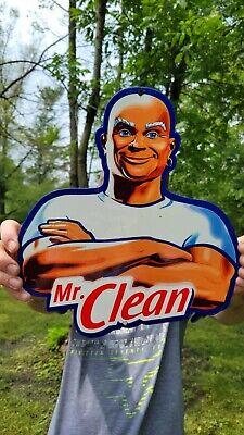 VINTAGE OLD MR.CLEAN HOUSE CLEANING HEAVY ENAMEL DIE CUT METAL CHARACTER SIGN