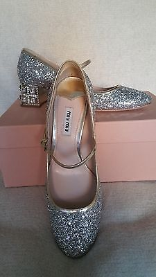 NIB Miu Miu Prada Glitter Mary Jane SIlver Pump 38 8 Jeweled Heel Crystal Shoes (Crystal Mary Jane Shoes)