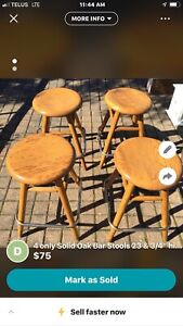 4 Oak Bar Stools